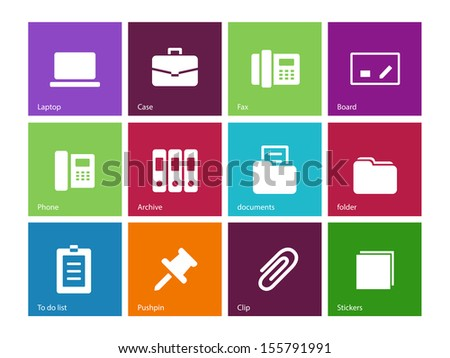 Office icons on color background. See also vector version. - stock photo