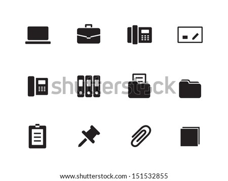 Office icons on white background. See also vector version. - stock photo
