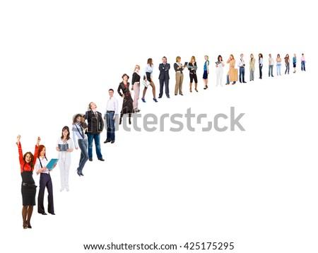 Office Idea Line of Colleagues  - stock photo