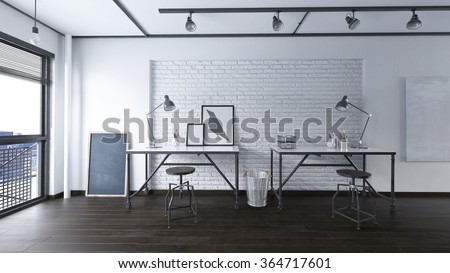 Office in an industrial interior - 3 d render using 3 d s Max - stock photo