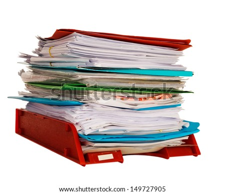 Office in-tray aka in tray with documents, bureaucracy, isolated on white background - stock photo