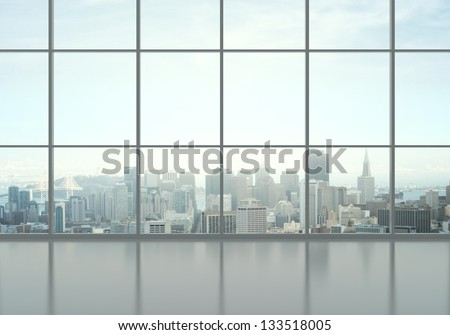 office interior and city view - stock photo