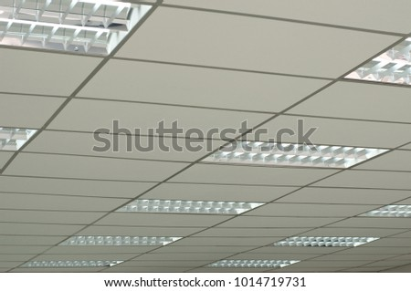 Office Interior Ceiling Including Light And T Bar Gypsum Board
