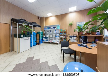 Office interior company selling water filters - stock photo