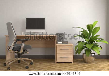 Office interior. 3D illustration - stock photo