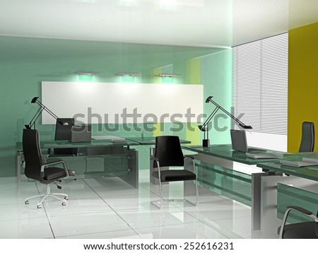 Office interior in classical style 3d rendering