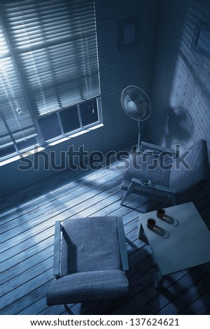 Office interior in the moonlight - stock photo
