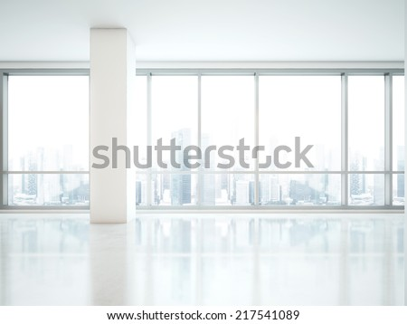 Office interior. Panoramic window with city view - stock photo