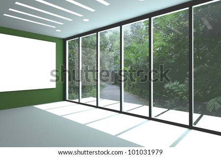 Office interior rendering with empty room color wall and decorated glass door with wildlife. - stock photo