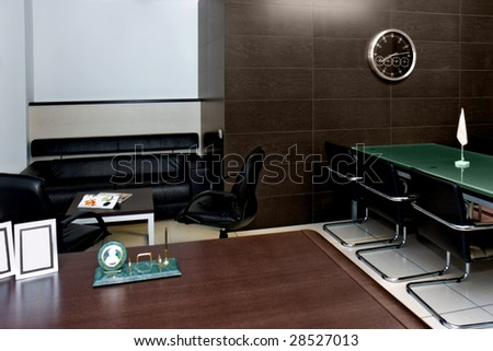 office interior room for negotiation with the clock on the wall