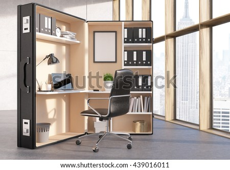 Office interior with abstract workplace inside big suitcase and window with New York city view. 3D Rendering