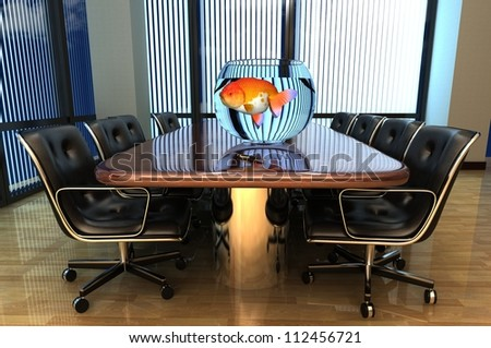 Office interior with an aquarium on the table. - stock photo