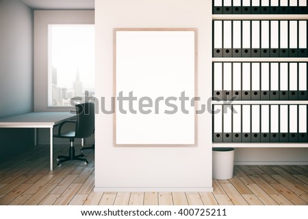 Office interior with blank frame on concrete wall, workplace and shelves. Mock up, 3D Rendering - stock photo