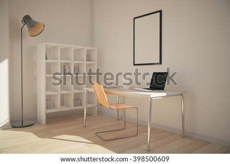 Office interior with bookshelves, workplace with blank frame above and lamp. 3D Rendering