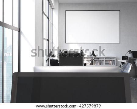 Office interior with computers, blank picture frame, bookshelves and window with Singapore city view. Mock up, 3D Rendering - stock photo