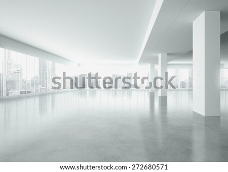 Office interior with large windows . 3d render - stock photo