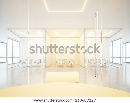 Office interior with meeting rooms. 3D rendering - stock photo