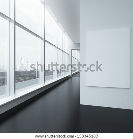 office interior with white frame and windows - stock photo