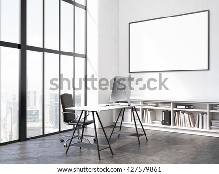 Office interior with workplace, blank picture frame on wall, bookshelves and window with city view. Mock up, 3D Rendering - stock photo