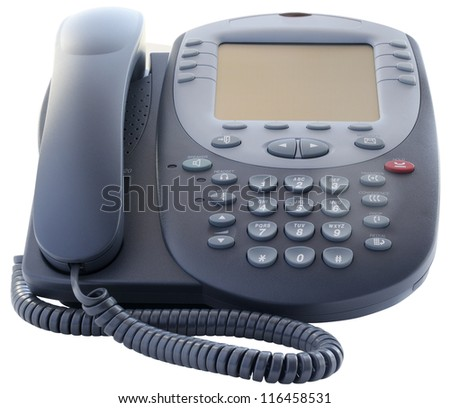 Office IP telephone set with big LCD isolated on the white