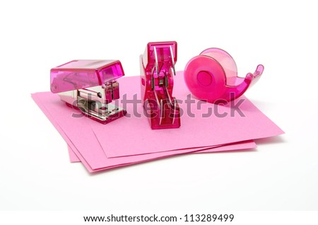 Office Items in pink on white background