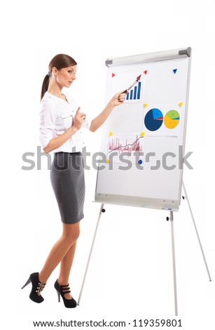 Office lady explaining the graph during business presentation, on white background - stock photo