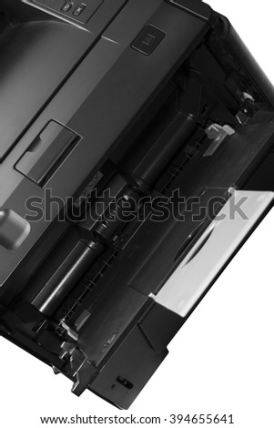 Office laser printer isolated on white background with white paper - stock photo