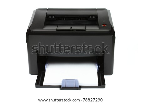 Office laser printer isolated on white background with white paper