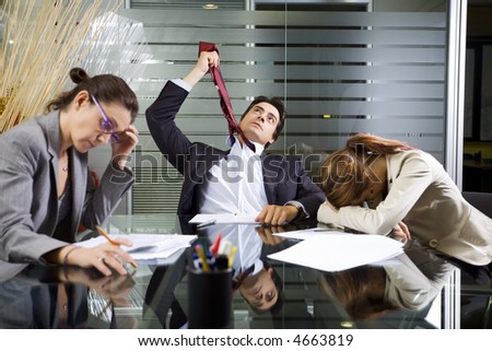 Office life: business team during a meeting - stock photo