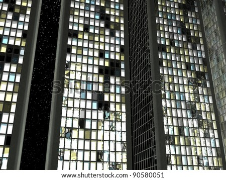 Office life: Skescrapers with lighted windows at night - stock photo