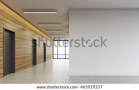 Office Lobby Interior Wooden Walls Large Lagerillustration