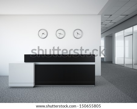 office lobby with a reception desk - stock photo