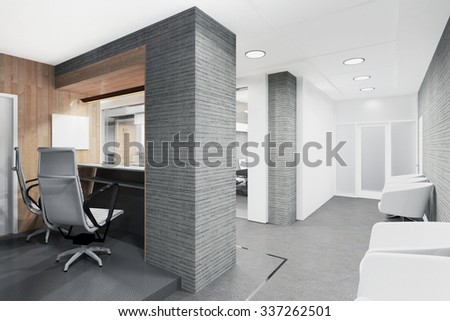 office lobby with a reception desk visualization