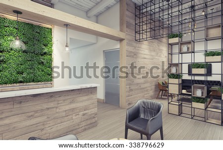 Office Lobby with Green Wall 3D Rendering - stock photo