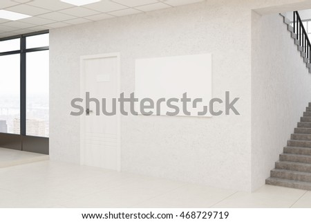 Office lobby with picture on wall, door and large window. Concept of business building architecture. 3d rendering. Mock up