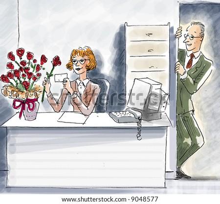 office love - stock photo