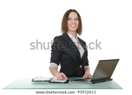 office manager, a young woman on a white background