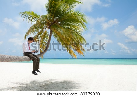 Office manager with tablet pc sitting on palm tree on the Maldivian beach - stock photo