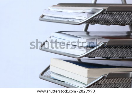 office metal paper tray - stock photo