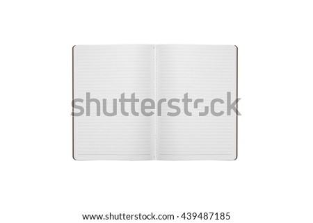 Office notebook with lines paper opened isolated on white background - stock photo