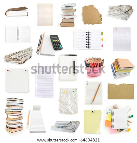 office notebooks and pegs collection isolated on white - stock photo