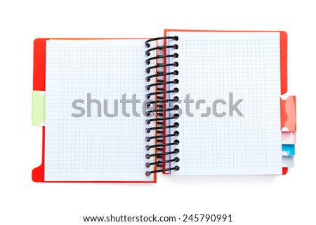 Office notepad. Isolated on white background. View from above - stock photo