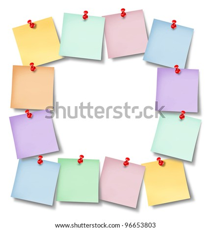 Office notes blank frame with several memos pinned to a white background wall with a red thumb tack in the shape of an empty square framed as a business communication design. - stock photo