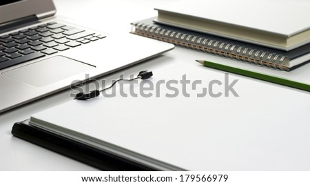 office objects and computer on white table - stock photo