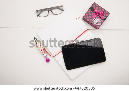 Office or education objects on a white background - stock photo