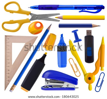 Office or school supplies set isolated on white - stationery icons - stock photo
