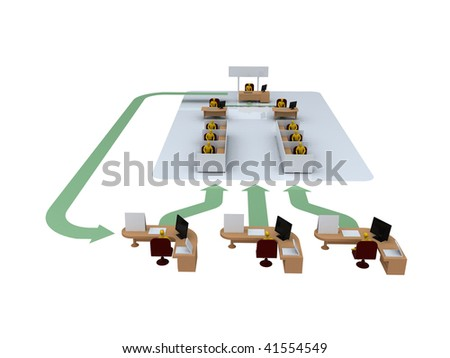 Office organization - team workflow and communication structure diagram / illustration - stock photo