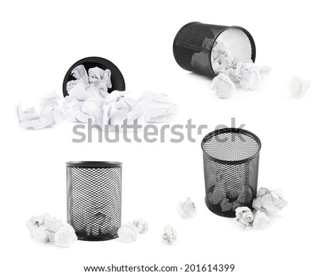 Office paper black trash bin isolated over the white background, set of four foreshortenings - stock photo