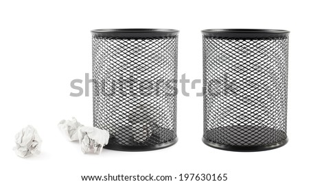 Office paper black trash bin isolated over the white background, set of two: filled with papers and empty - stock photo