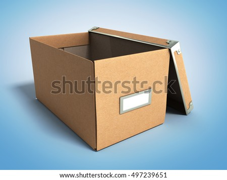 Office paper box for documents 3d render on gradient